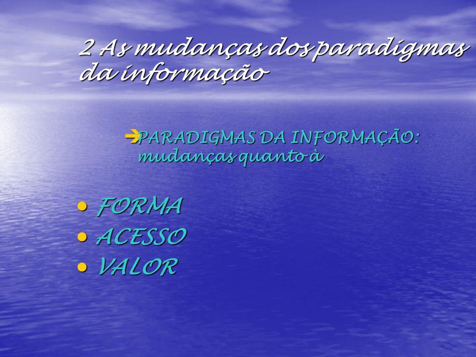 2 As mudanças dos paradigmas da informação è PARADIGMAS DA INFORMAÇÃO: mudanças quanto à FORMA FORMA ACESSO ACESSO VALOR VALOR