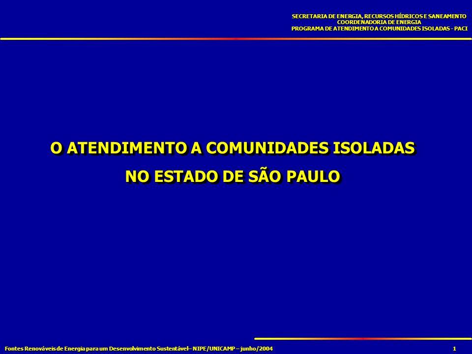 Fontes Renováveis de Energia para um Desenvolvimento Sustentável– NIPE/UNICAMP – junho/2004 SECRETARIA DE ENERGIA, RECURSOS HÍDRICOS E SANEAMENTO COORDENADORIA DE ENERGIA PROGRAMA DE ATENDIMENTO A COMUNIDADES ISOLADAS - PACI 1 O ATENDIMENTO A COMUNIDADES ISOLADAS NO ESTADO DE SÃO PAULO