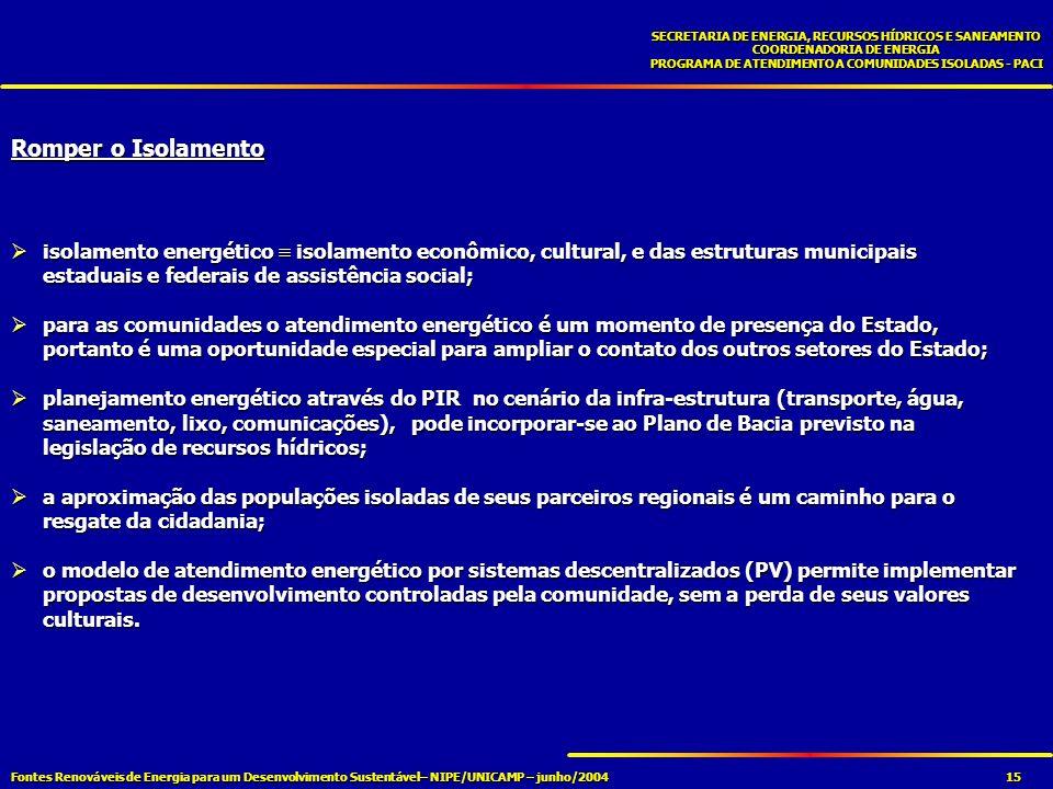 Fontes Renováveis de Energia para um Desenvolvimento Sustentável– NIPE/UNICAMP – junho/2004 SECRETARIA DE ENERGIA, RECURSOS HÍDRICOS E SANEAMENTO COORDENADORIA DE ENERGIA PROGRAMA DE ATENDIMENTO A COMUNIDADES ISOLADAS - PACI 15 Romper o Isolamento isolamento energético isolamento econômico, cultural, e das estruturas municipais estaduais e federais de assistência social; isolamento energético isolamento econômico, cultural, e das estruturas municipais estaduais e federais de assistência social; para as comunidades o atendimento energético é um momento de presença do Estado, portanto é uma oportunidade especial para ampliar o contato dos outros setores do Estado; para as comunidades o atendimento energético é um momento de presença do Estado, portanto é uma oportunidade especial para ampliar o contato dos outros setores do Estado; planejamento energético através do PIR no cenário da infra-estrutura (transporte, água, saneamento, lixo, comunicações), pode incorporar-se ao Plano de Bacia previsto na legislação de recursos hídricos; planejamento energético através do PIR no cenário da infra-estrutura (transporte, água, saneamento, lixo, comunicações), pode incorporar-se ao Plano de Bacia previsto na legislação de recursos hídricos; a aproximação das populações isoladas de seus parceiros regionais é um caminho para o resgate da cidadania; a aproximação das populações isoladas de seus parceiros regionais é um caminho para o resgate da cidadania; o modelo de atendimento energético por sistemas descentralizados (PV) permite implementar propostas de desenvolvimento controladas pela comunidade, sem a perda de seus valores culturais.