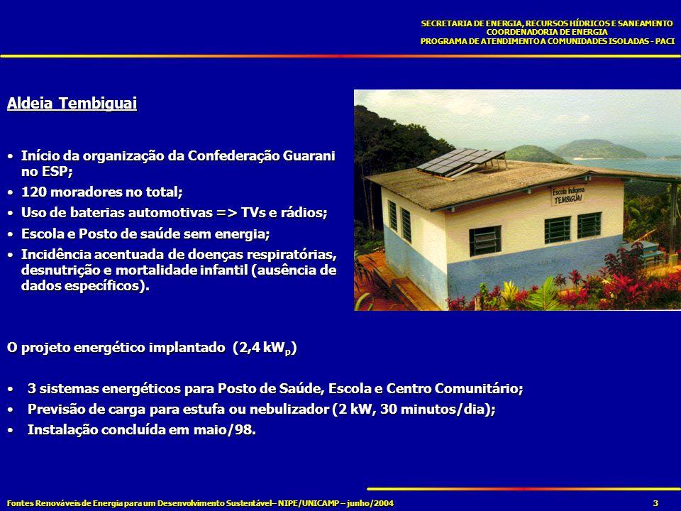 Fontes Renováveis de Energia para um Desenvolvimento Sustentável– NIPE/UNICAMP – junho/2004 SECRETARIA DE ENERGIA, RECURSOS HÍDRICOS E SANEAMENTO COORDENADORIA DE ENERGIA PROGRAMA DE ATENDIMENTO A COMUNIDADES ISOLADAS - PACI 4 PANORAMA ATUAL NAS ALDEIAS INDÍGENAS Sistemas aguardam remoção – rede elétrica chegou em janeiro/04 (aldeia Tembiguai);Sistemas aguardam remoção – rede elétrica chegou em janeiro/04 (aldeia Tembiguai); Acentuada melhora nos indicadores de saúde (Tembiguai):Acentuada melhora nos indicadores de saúde (Tembiguai): Último óbito em 1997;Último óbito em 1997; Nenhum caso de tuberculose nos últimos anos;Nenhum caso de tuberculose nos últimos anos; Sem casos de desnutrição infantil;Sem casos de desnutrição infantil; Vacinação em dia;Vacinação em dia; Escola informatizada.Escola informatizada.