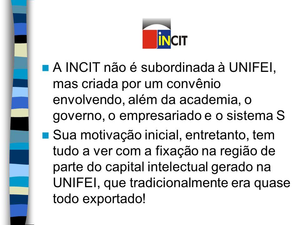 A INCIT não é subordinada à UNIFEI, mas criada por um convênio envolvendo, além da academia, o governo, o empresariado e o sistema S Sua motivação inicial, entretanto, tem tudo a ver com a fixação na região de parte do capital intelectual gerado na UNIFEI, que tradicionalmente era quase todo exportado!