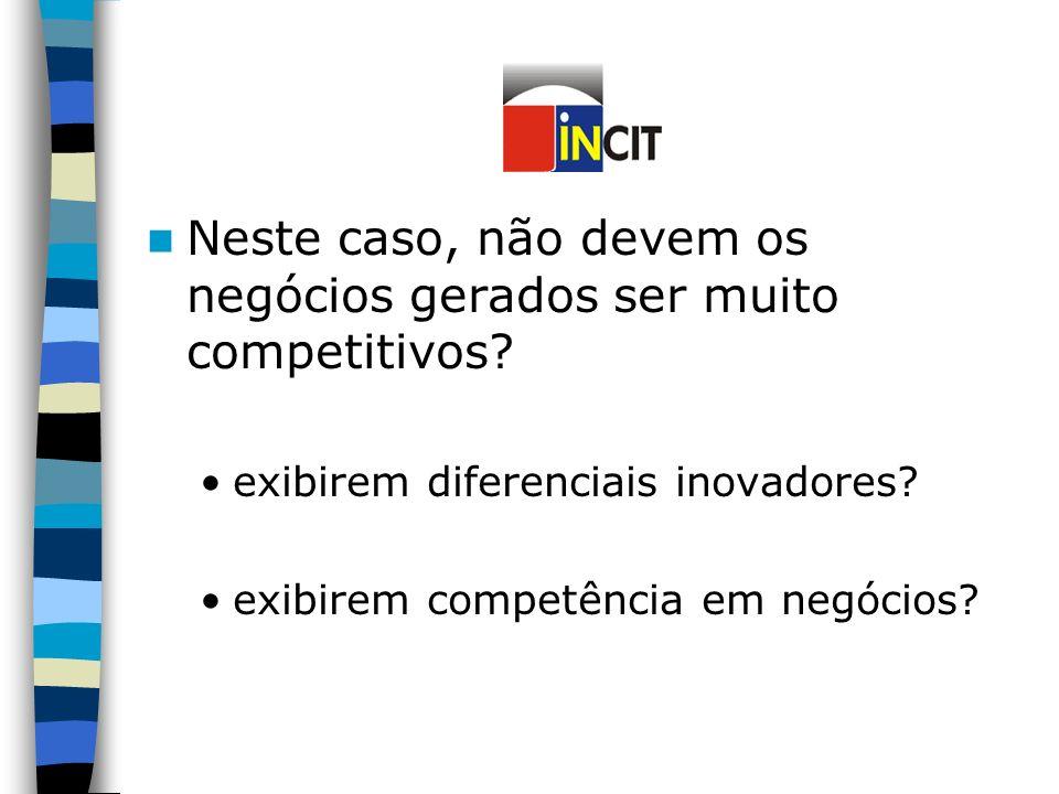 Neste caso, não devem os negócios gerados ser muito competitivos.