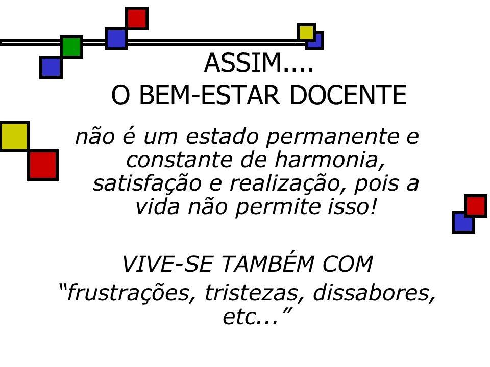 ASSIM.... O BEM-ESTAR DOCENTE não é um estado permanente e constante de harmonia, satisfação e realização, pois a vida não permite isso! VIVE-SE TAMBÉ