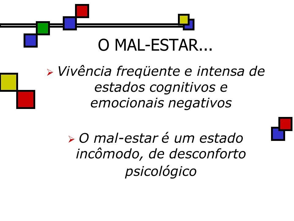 O MAL-ESTAR... Vivência freqüente e intensa de estados cognitivos e emocionais negativos O mal-estar é um estado incômodo, de desconforto psicológico
