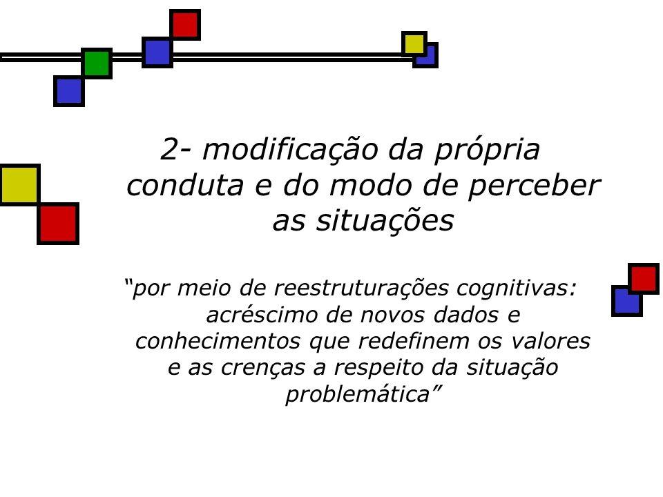 2- modificação da própria conduta e do modo de perceber as situações por meio de reestruturações cognitivas: acréscimo de novos dados e conhecimentos