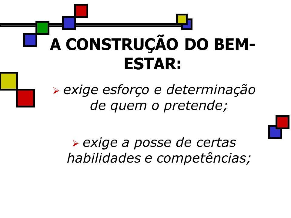 A CONSTRUÇÃO DO BEM- ESTAR: exige esforço e determinação de quem o pretende; exige a posse de certas habilidades e competências;