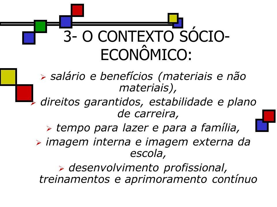 3- O CONTEXTO SÓCIO- ECONÔMICO: salário e benefícios (materiais e não materiais), direitos garantidos, estabilidade e plano de carreira, tempo para la