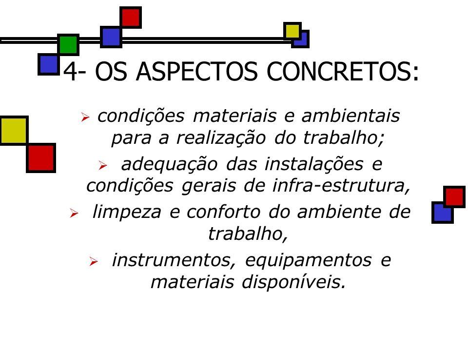 4- OS ASPECTOS CONCRETOS: condições materiais e ambientais para a realização do trabalho; adequação das instalações e condições gerais de infra-estrutura, limpeza e conforto do ambiente de trabalho, instrumentos, equipamentos e materiais disponíveis.
