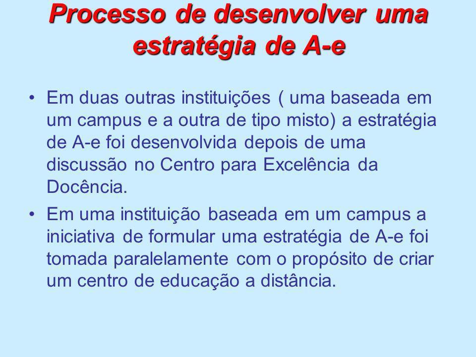 Processo de desenvolver uma estratégia de A-e Em duas outras instituições ( uma baseada em um campus e a outra de tipo misto) a estratégia de A-e foi