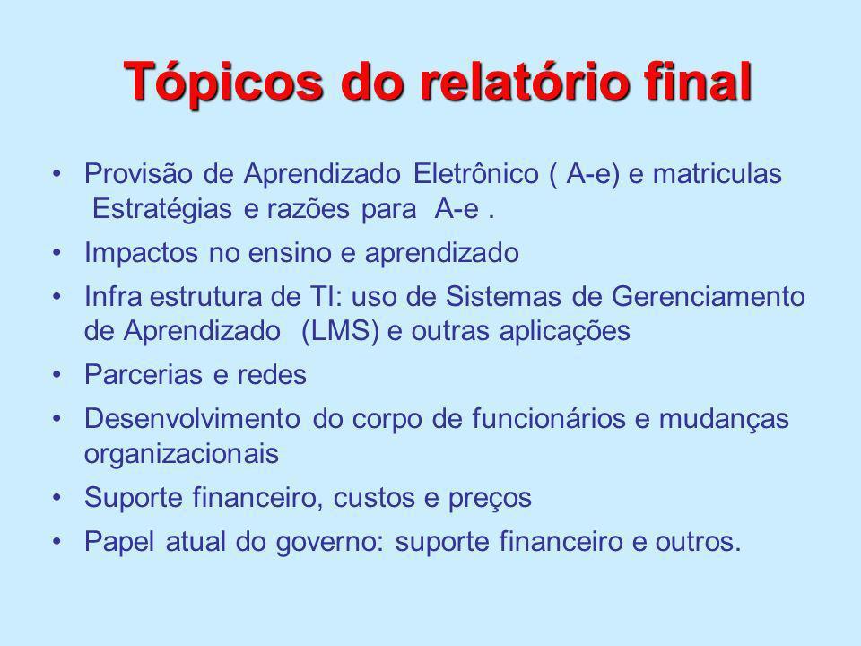 Tópicos do relatório final Tópicos do relatório final Provisão de Aprendizado Eletrônico ( A-e) e matriculas Estratégias e razões para A-e. Impactos n