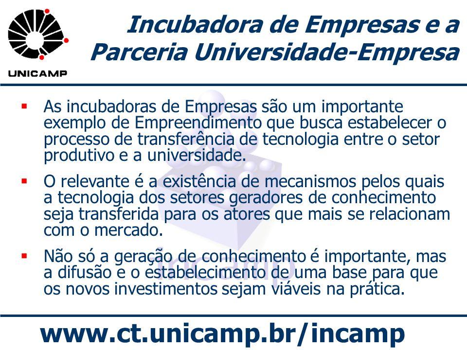 www.ct.unicamp.br/incamp Incubadora de Empresas e a Parceria Universidade-Empresa As incubadoras de Empresas são um importante exemplo de Empreendimen