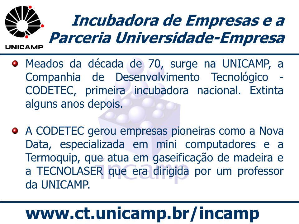 www.ct.unicamp.br/incamp Incubadora de Empresas e a Parceria Universidade-Empresa Meados da década de 70, surge na UNICAMP, a Companhia de Desenvolvim