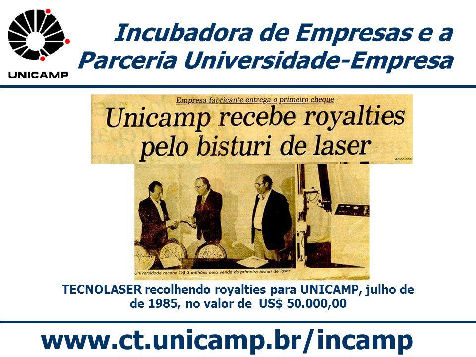 www.ct.unicamp.br/incamp Incubadora de Empresas e a Parceria Universidade-Empresa TECNOLASER recolhendo royalties para UNICAMP, julho de de 1985, no v