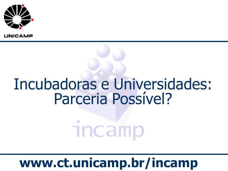 www.ct.unicamp.br/incamp Incubadoras e Universidades: Parceria Possível?