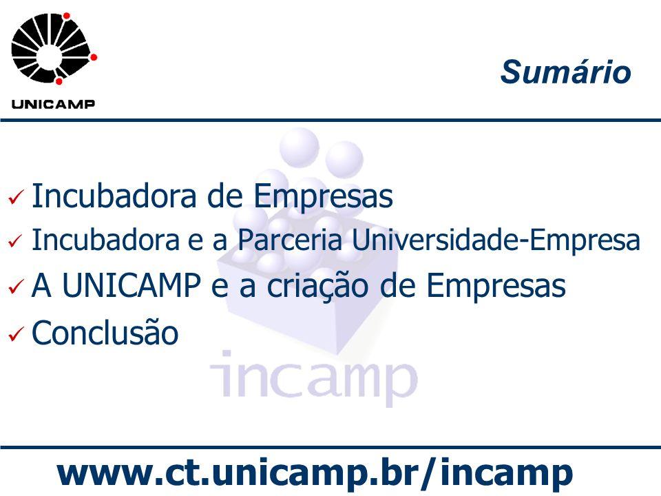 www.ct.unicamp.br/incamp Sumário Incubadora de Empresas Incubadora e a Parceria Universidade-Empresa A UNICAMP e a criação de Empresas Conclusão