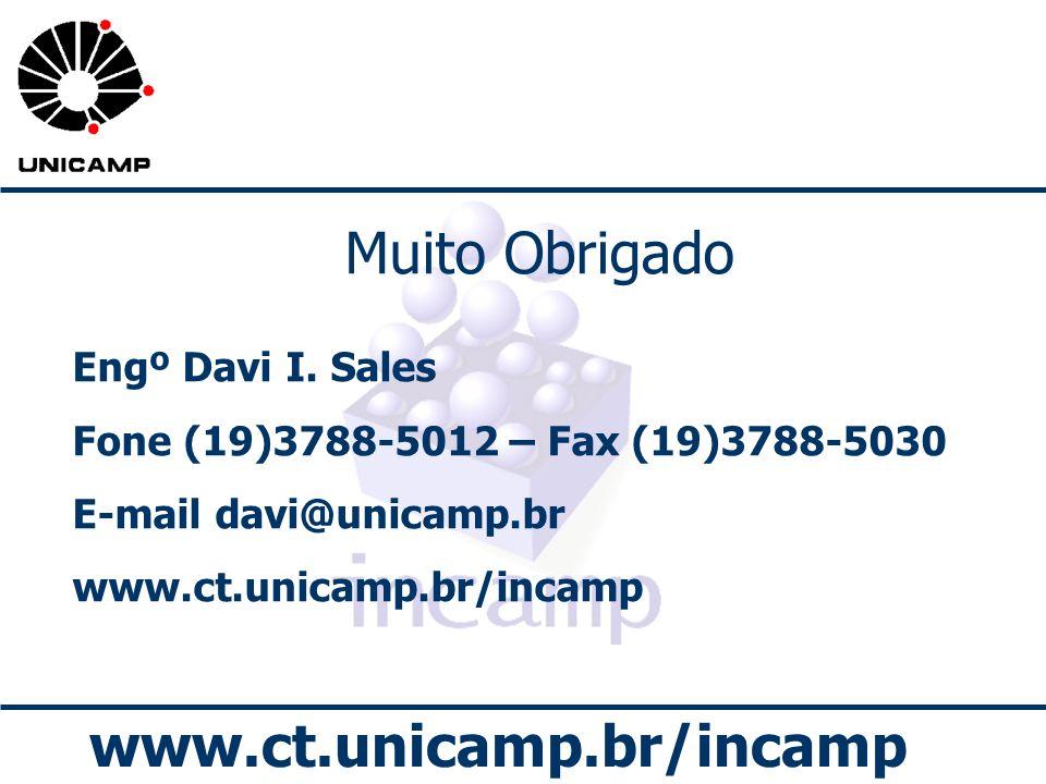 www.ct.unicamp.br/incamp Muito Obrigado Engº Davi I. Sales Fone (19)3788-5012 – Fax (19)3788-5030 E-mail davi@unicamp.br www.ct.unicamp.br/incamp