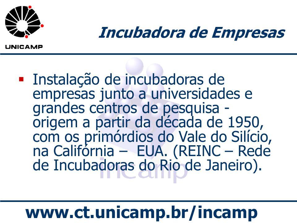 www.ct.unicamp.br/incamp Incubadora de Empresas Instalação de incubadoras de empresas junto a universidades e grandes centros de pesquisa - origem a p