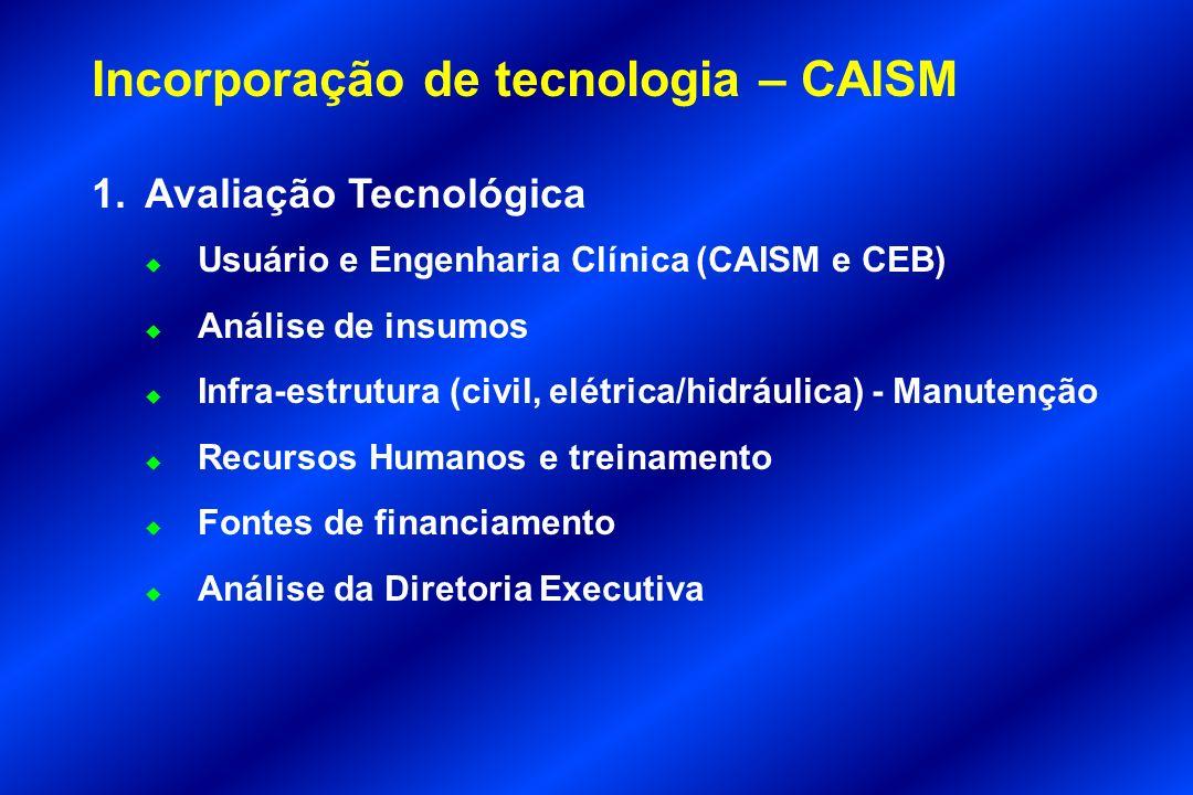 Incorporação de tecnologia – CAISM 1.Avaliação Tecnológica u Usuário e Engenharia Clínica (CAISM e CEB) u Análise de insumos u Infra-estrutura (civil,