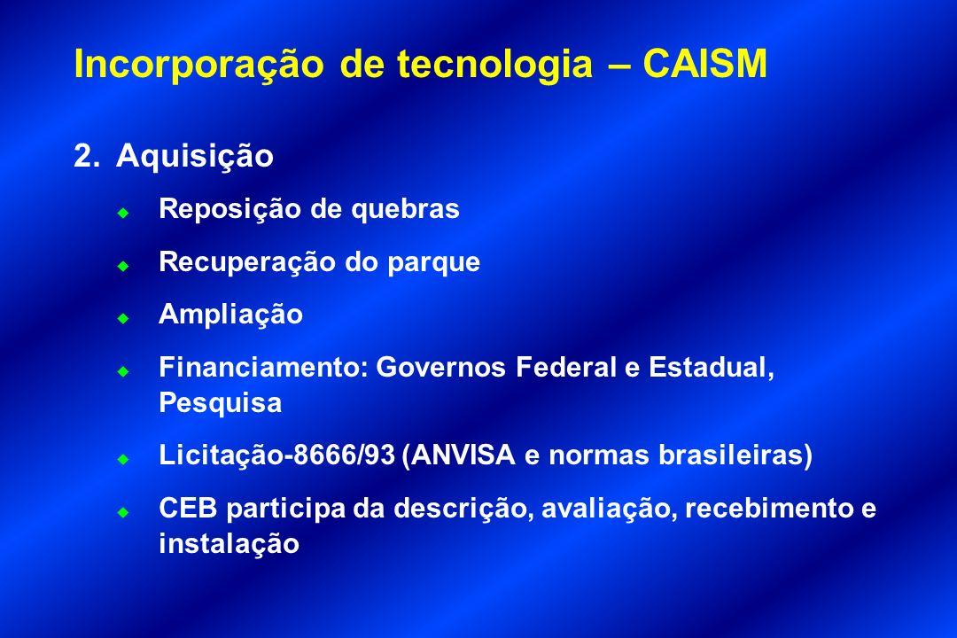 Incorporação de tecnologia – CAISM 2.Aquisição u Reposição de quebras u Recuperação do parque u Ampliação u Financiamento: Governos Federal e Estadual