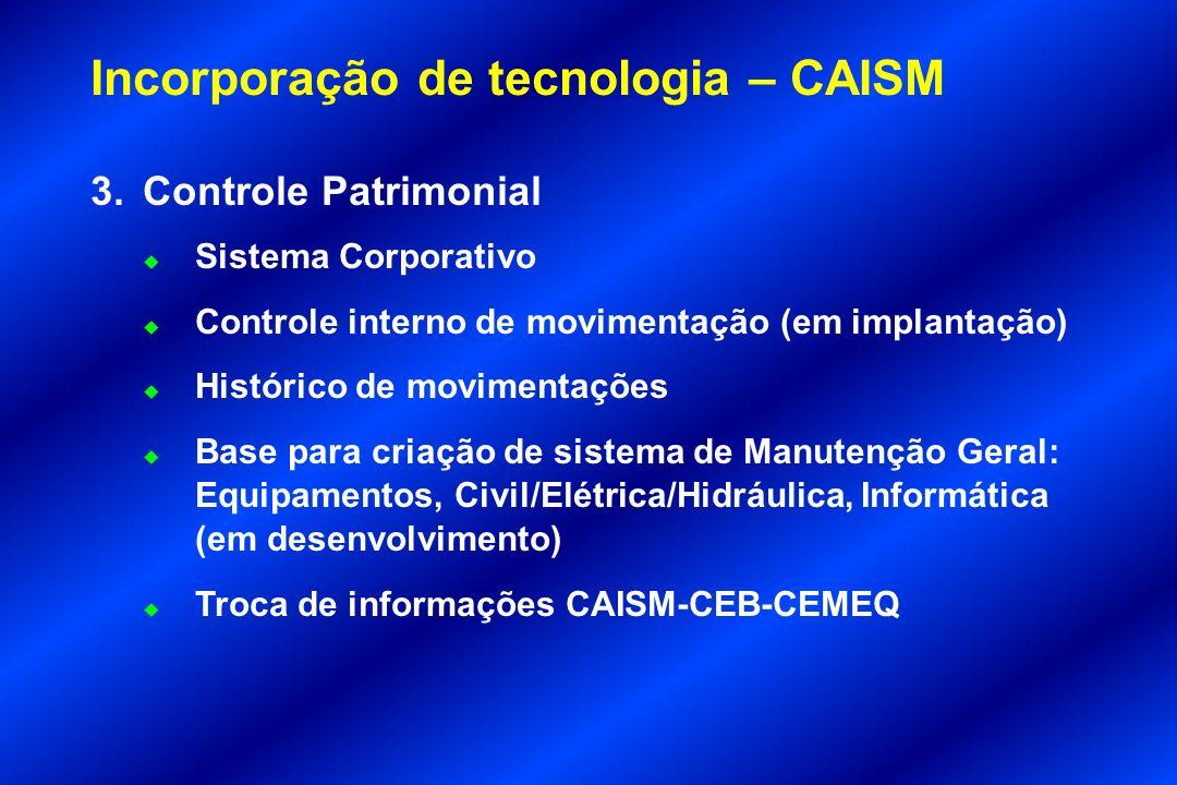 Incorporação de tecnologia – CAISM 3.Controle Patrimonial u Sistema Corporativo u Controle interno de movimentação (em implantação) u Histórico de mov