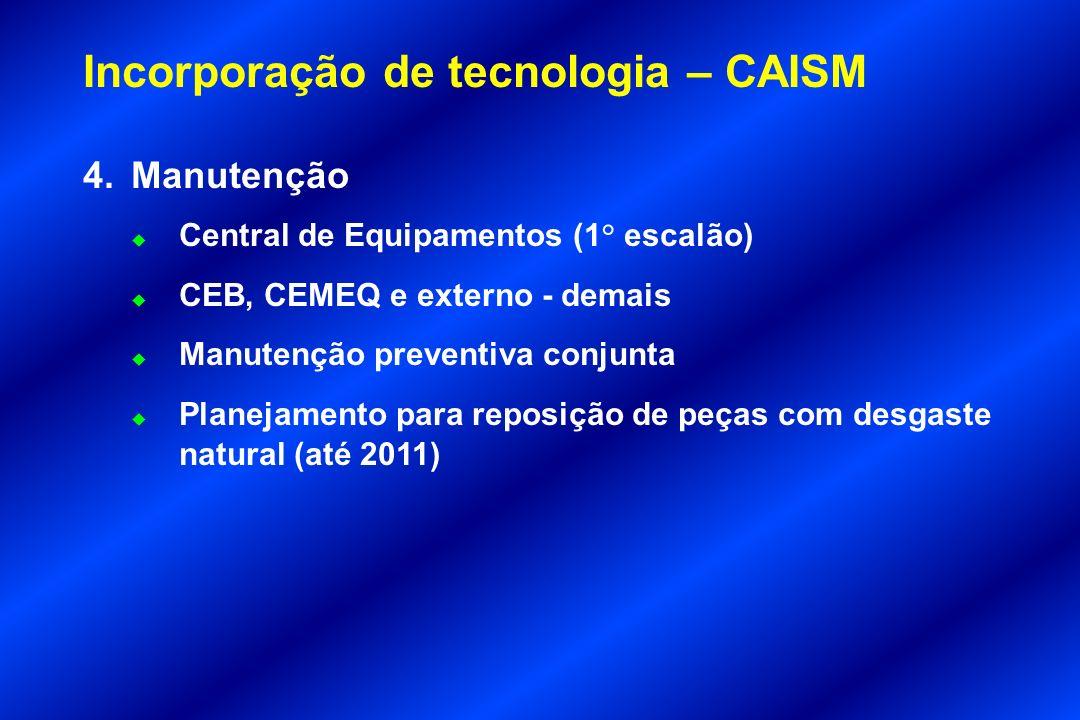 Incorporação de tecnologia – CAISM 4.Manutenção u Central de Equipamentos (1° escalão) u CEB, CEMEQ e externo - demais u Manutenção preventiva conjunt