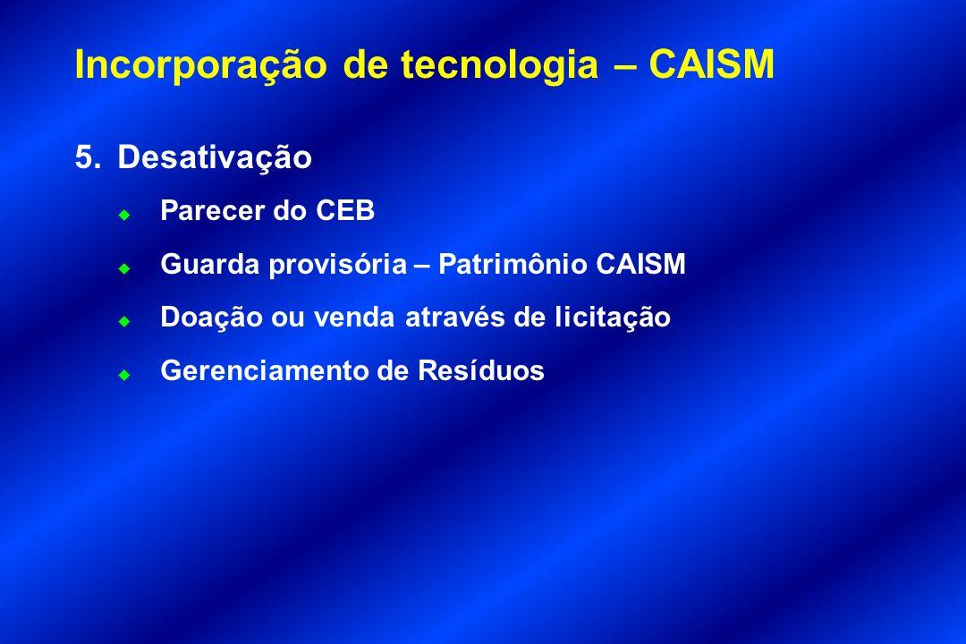 Incorporação de tecnologia – CAISM 5.Desativação u Parecer do CEB u Guarda provisória – Patrimônio CAISM u Doação ou venda através de licitação u Gere