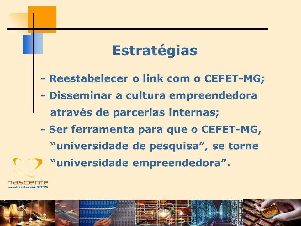 Estratégias - Reestabelecer o link com o CEFET-MG; - Disseminar a cultura empreendedora através de parcerias internas; - Ser ferramenta para que o CEF