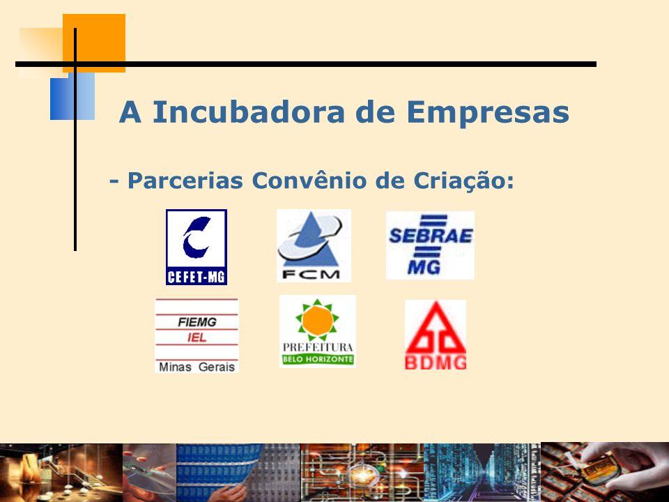 O Contexto - Fora do CEFET-MG - busca de apoio tecnológico; - apoio das instituições focado na criação da incubadora; - liberação de recursos mediante nº de empresas residentes.