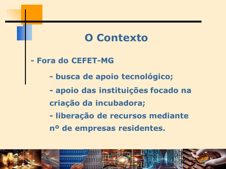 O Contexto - Fora do CEFET-MG - busca de apoio tecnológico; - apoio das instituições focado na criação da incubadora; - liberação de recursos mediante