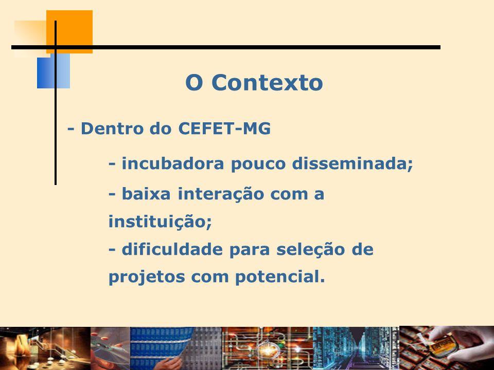 O Contexto - Dentro do CEFET-MG - incubadora pouco disseminada; - baixa interação com a instituição; - dificuldade para seleção de projetos com potenc