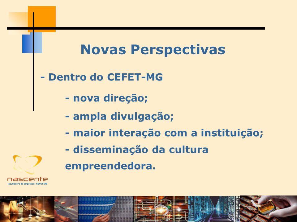 Novas Perspectivas - Fora do CEFET-MG - prospecção de projetos para desenvolvimento tecnológico; - fortalecimento das parcerias; - recursos para o crescimento da incubadora.