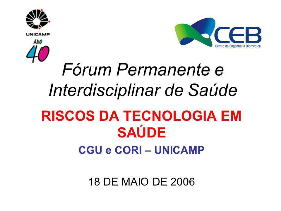 Fórum Permanente e Interdisciplinar de Saúde RISCOS DA TECNOLOGIA EM SAÚDE CGU e CORI – UNICAMP 18 DE MAIO DE 2006