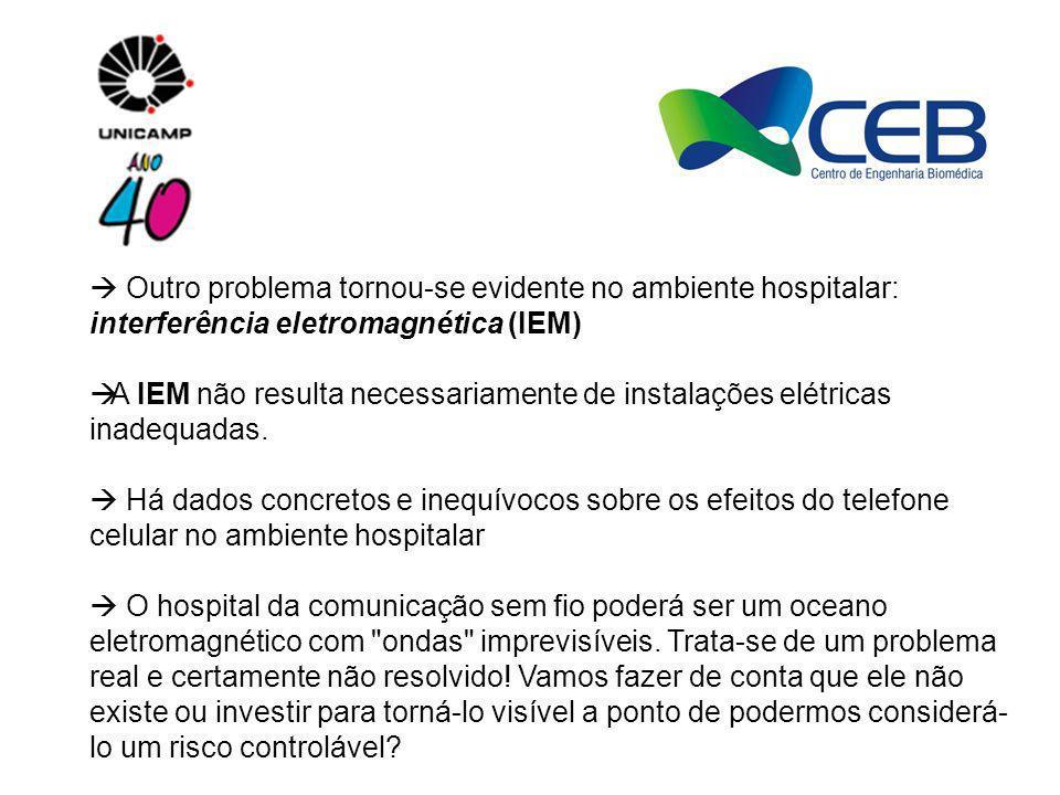Outro problema tornou-se evidente no ambiente hospitalar: interferência eletromagnética (IEM) A IEM não resulta necessariamente de instalações elétric
