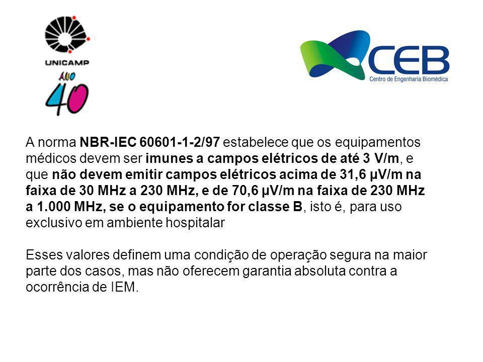 A norma NBR-IEC 60601-1-2/97 estabelece que os equipamentos médicos devem ser imunes a campos elétricos de até 3 V/m, e que não devem emitir campos el