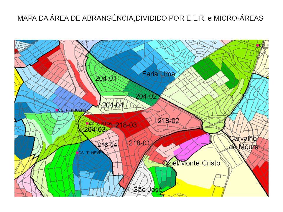 MAPA DA ÁREA DE ABRANGÊNCIA,DIVIDIDO POR E.L.R.