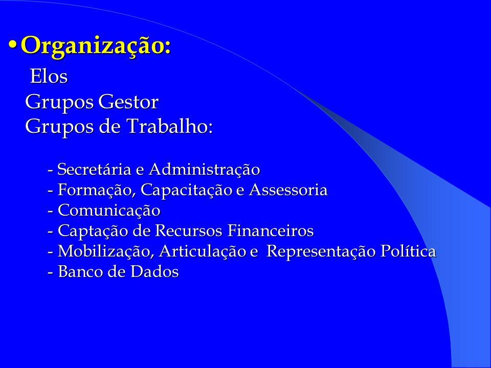Organização: Elos Grupos Gestor Grupos de Trabalho: - Secretária e Administração - Formação, Capacitação e Assessoria - Comunicação - Captação de Recursos Financeiros - Mobilização, Articulação e Representação Política - Banco de Dados Organização: Elos Grupos Gestor Grupos de Trabalho: - Secretária e Administração - Formação, Capacitação e Assessoria - Comunicação - Captação de Recursos Financeiros - Mobilização, Articulação e Representação Política - Banco de Dados