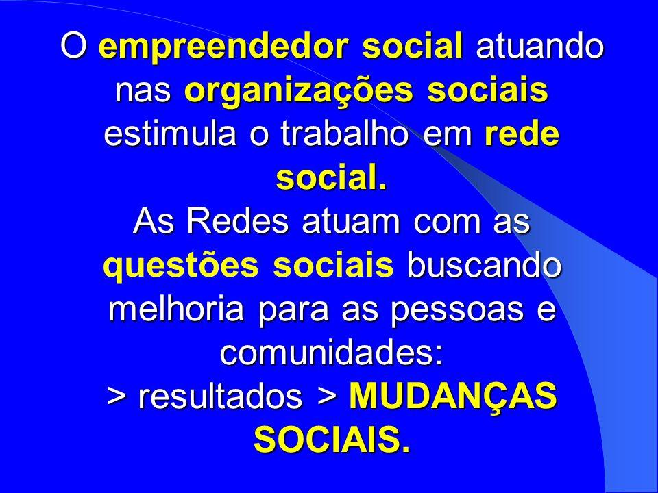 O empreendedor social atuando nas organizações sociais estimula o trabalho em rede social. As Redes atuam com as buscando melhoria para as pessoas e c