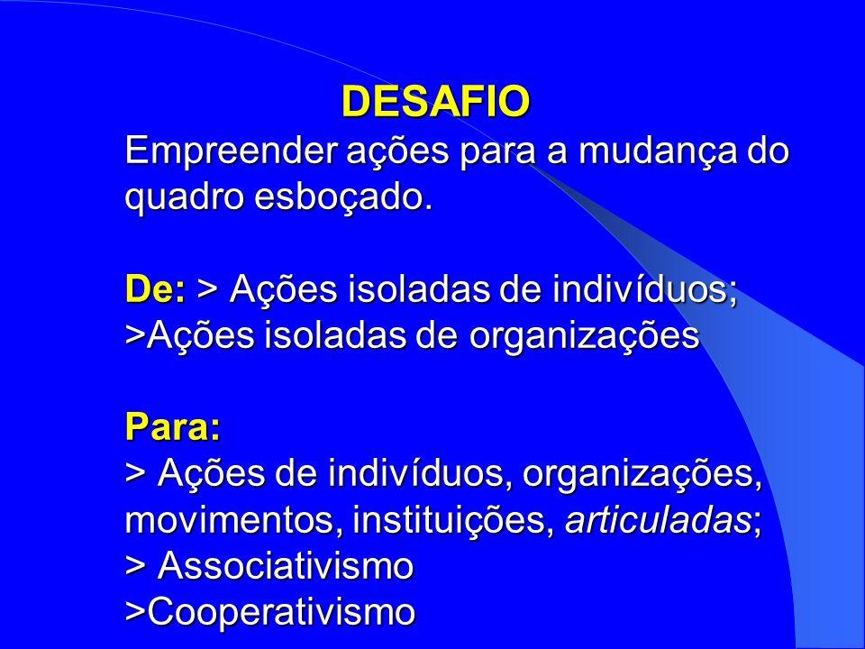 DESAFIO Empreender ações para a mudança do quadro esboçado. De: > Ações isoladas de indivíduos; >Ações isoladas de organizações Para: > Ações de indiv