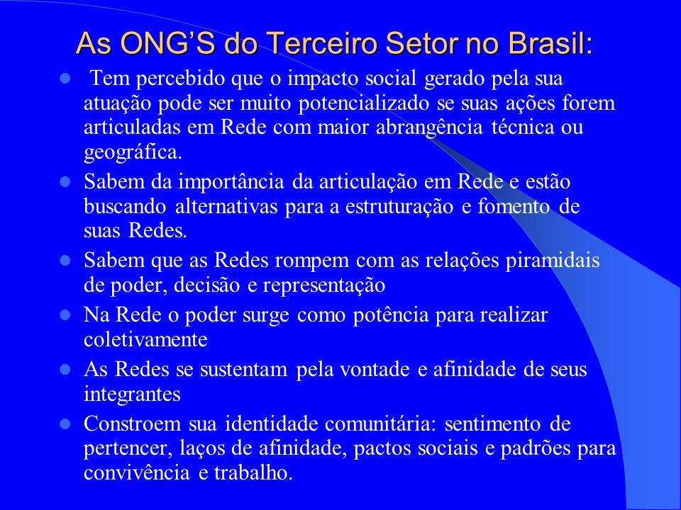 As ONGS do Terceiro Setor no Brasil: Tem percebido que o impacto social gerado pela sua atuação pode ser muito potencializado se suas ações forem articuladas em Rede com maior abrangência técnica ou geográfica.