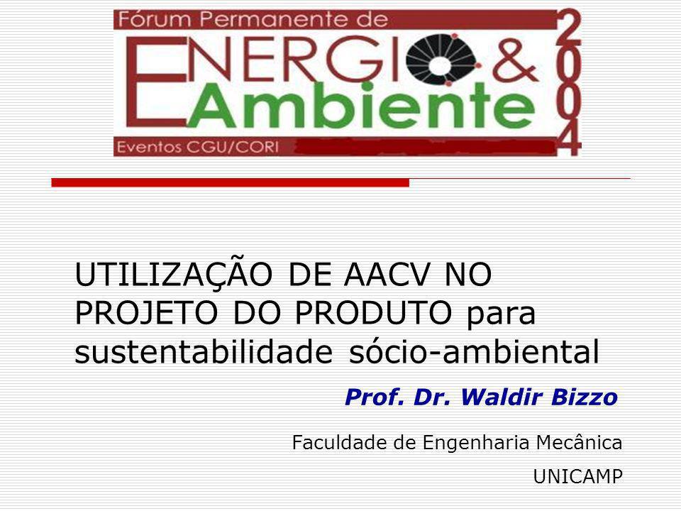 Waldir Bizzo bizzo@fem.unicamp.br Avaliação Ambiental de Ciclo de Vida AACV: metodologia relativamente nova (1991) Maior parte das pesquisas e publicações são relativas ao desenvolvimento e aperfeiçoamento da metodologia AACVs publicadas referem-se a produtos existentes: AACV restropectiva Muitas AACVs não são publicadas Poucos exemplos de utilização de AACV no projeto do produto