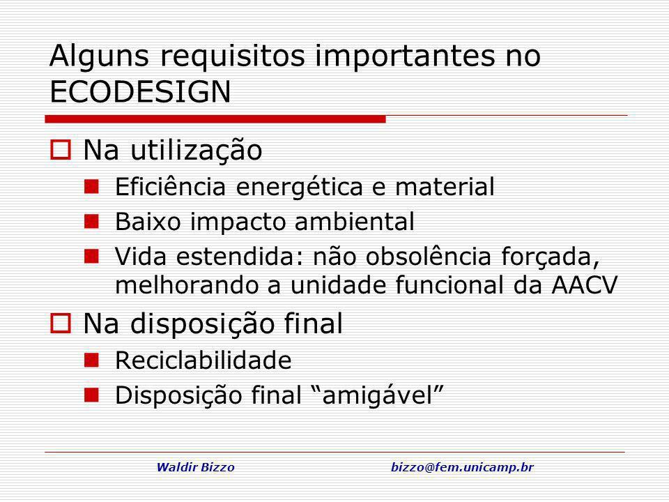 Waldir Bizzo bizzo@fem.unicamp.br Na utilização Eficiência energética e material Baixo impacto ambiental Vida estendida: não obsolência forçada, melho