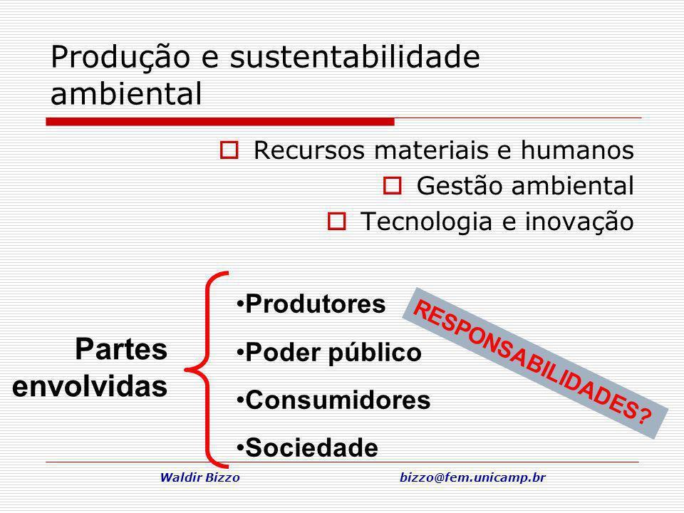 Waldir Bizzo bizzo@fem.unicamp.br Produção e sustentabilidade ambiental Recursos materiais e humanos Gestão ambiental Tecnologia e inovação Produtores