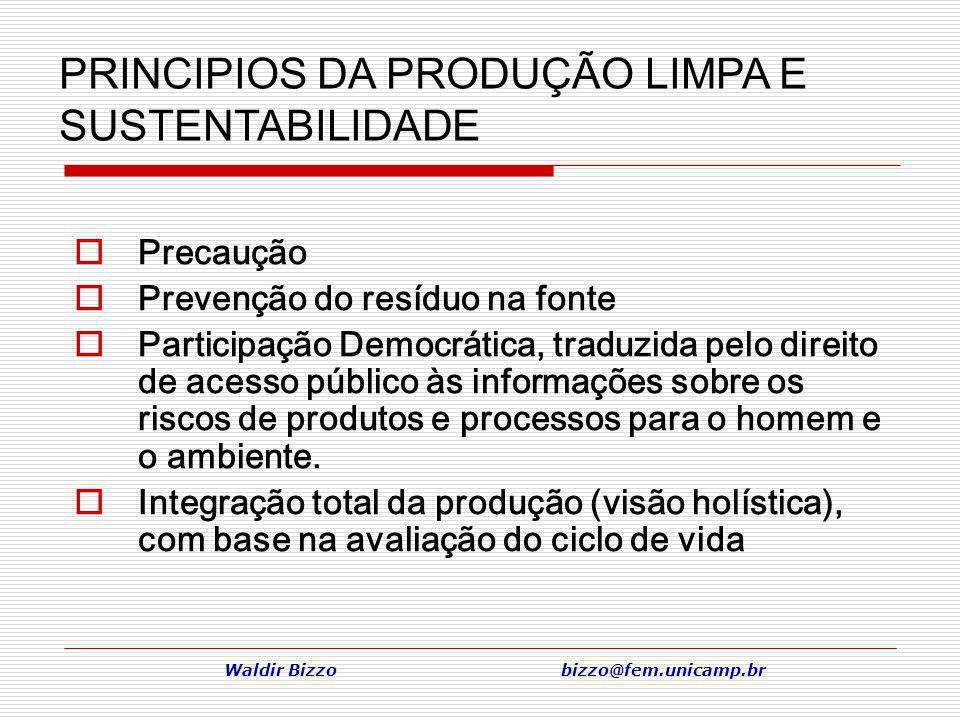 Waldir Bizzo bizzo@fem.unicamp.br Precaução Prevenção do resíduo na fonte Participação Democrática, traduzida pelo direito de acesso público às inform