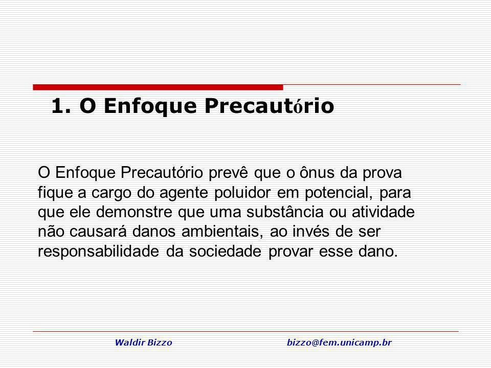 Waldir Bizzo bizzo@fem.unicamp.br 1. O Enfoque Precaut ó rio O Enfoque Precautório prevê que o ônus da prova fique a cargo do agente poluidor em poten