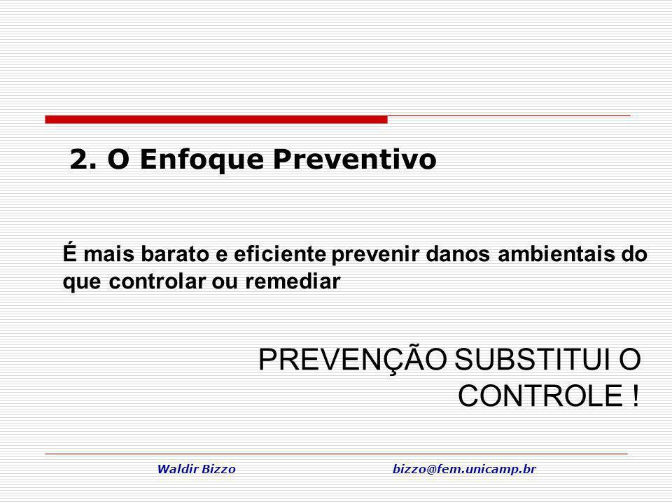 Waldir Bizzo bizzo@fem.unicamp.br 2. O Enfoque Preventivo PREVENÇÃO SUBSTITUI O CONTROLE ! É mais barato e eficiente prevenir danos ambientais do que