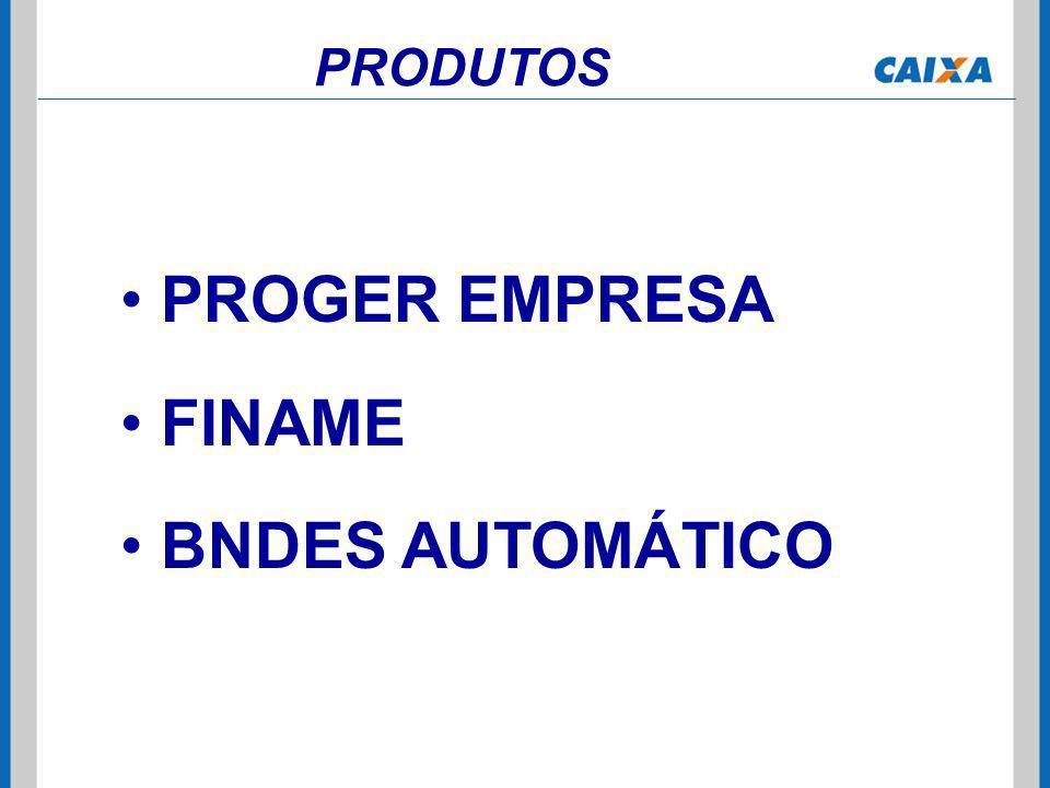 PROGER EMPRESA FINAME BNDES AUTOMÁTICO PRODUTOS