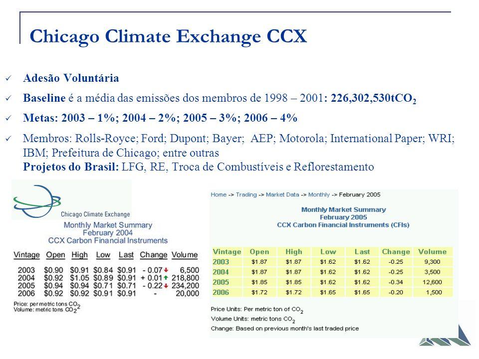 Chicago Climate Exchange CCX Adesão Voluntária Baseline é a média das emissões dos membros de 1998 – 2001: 226,302,530tCO 2 Metas: 2003 – 1%; 2004 – 2%; 2005 – 3%; 2006 – 4% Membros: Rolls-Royce; Ford; Dupont; Bayer; AEP; Motorola; International Paper; WRI; IBM; Prefeitura de Chicago; entre outras Projetos do Brasil: LFG, RE, Troca de Combustíveis e Reflorestamento