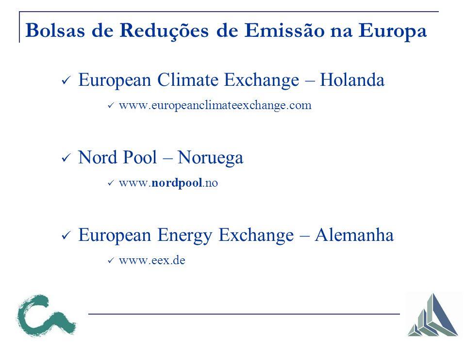 Bolsas de Reduções de Emissão na Europa European Climate Exchange – Holanda www.europeanclimateexchange.com Nord Pool – Noruega www.nordpool.no European Energy Exchange – Alemanha www.eex.de