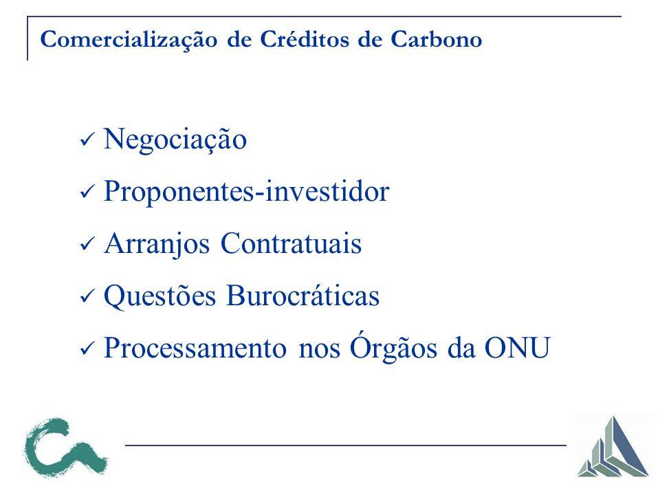 Comercialização de Créditos de Carbono Negociação Proponentes-investidor Arranjos Contratuais Questões Burocráticas Processamento nos Órgãos da ONU