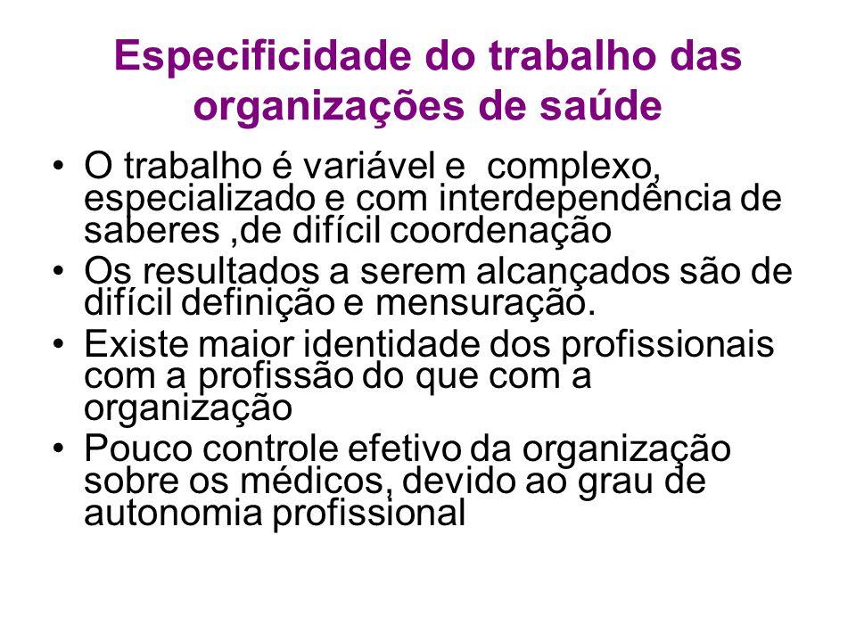 Especificidade do trabalho das organizações de saúde O trabalho é variável e complexo, especializado e com interdependência de saberes,de difícil coor